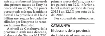 Baixa un 20% el nombre d'estudiants aturats que busquen feina a Lleida