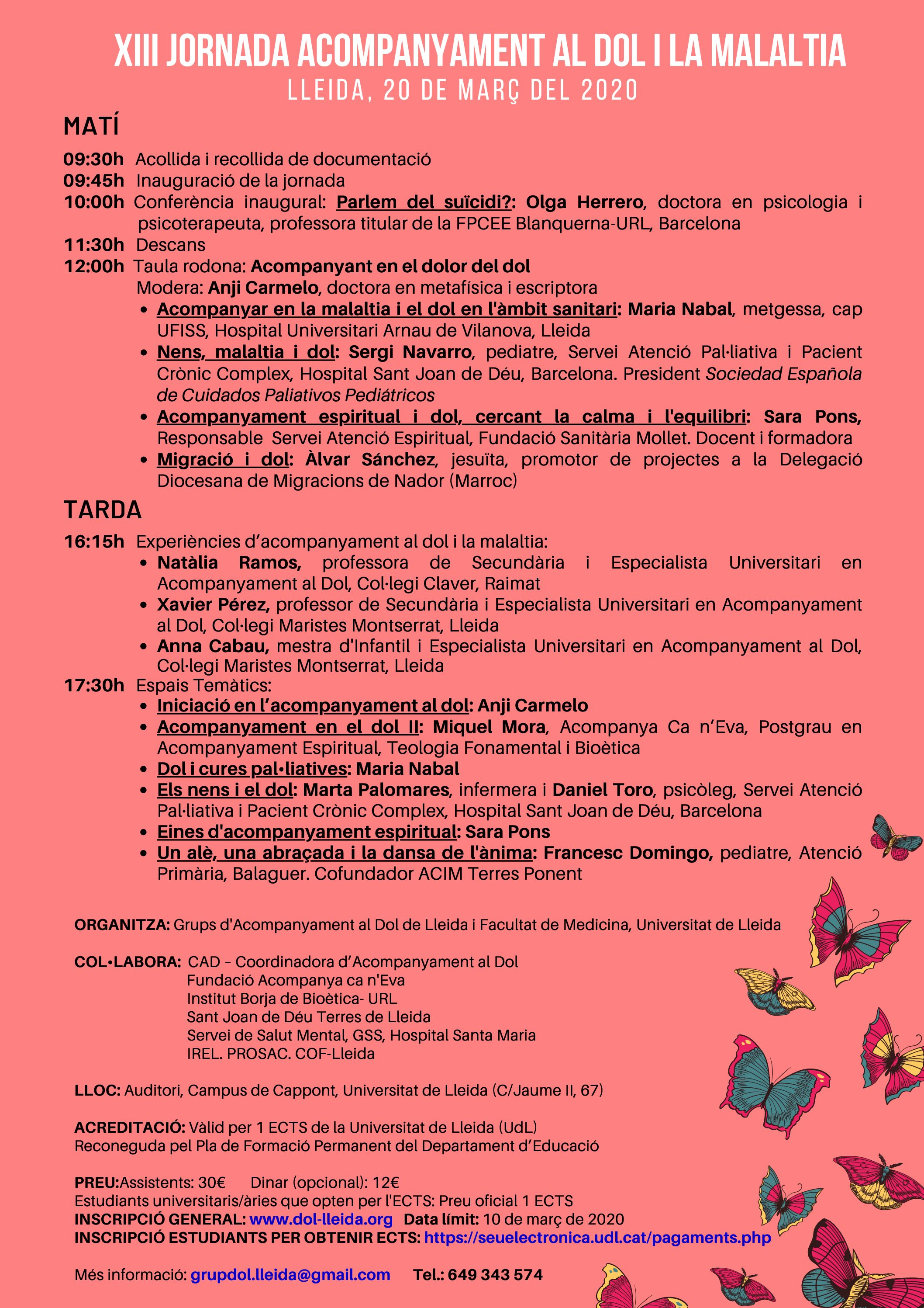 XIII Jornada Acompanyament al Dolila Malaltia. 20 de març del 2020